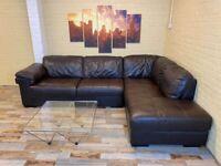 Big Comfy Brown Leather Corner Sofa