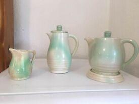 Govancroft Teapot, coffee pot, milk jug and pot stand. 1930s vintage.