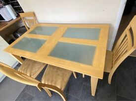 Solid Dining Table with 4 chairs