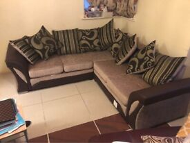 BRANDED SHANNON LEATHER-CHENILLE FABRIC SOFA (BLACK/GREY & BROWN/BEIGE COLOUR)