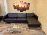 Cosy Brown Leather Corner Sofa