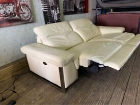 ELECTRIC DESIGNER NATUZZI REAL SOFT LEATHER RECLINER SOFA NICE CONDITION SMART FULL CHROME BASE