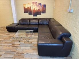 Big Family Brown Leather Corner Sofa