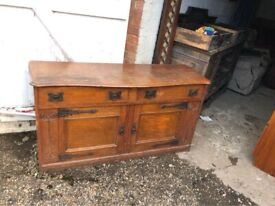 Vintage arts and craft solid oak side board - Can Deliver - Perfect for upcycles or great as is