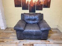 Deep Black/Grey Leather Armchair