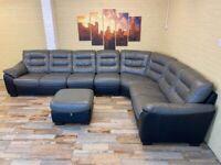 Huge Luxurious Black/Grey Leather Corner Sofa