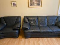 3 piece black leather sofa and chair suite