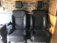 LAND ROVER DISCOVERY 5 V FRONT SET OF LEATHER SEAT BLACK 2017-2020