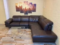Extendable Brown Leather Corner Sofa