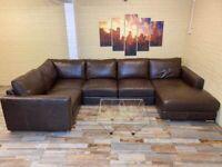 Impeccable Brown Leather Corner Sofa