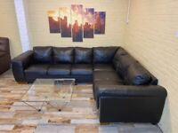 Elegant Long Brown Leather Corner Sofa