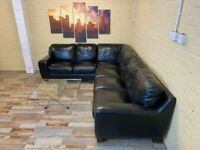 Vanta Black Leather Corner Sofa