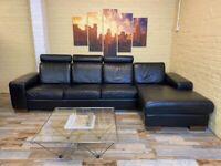 Large Cosy Black Leather Corner Sofa
