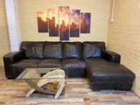 Rustic Black/Brown Leather Corner Sofa