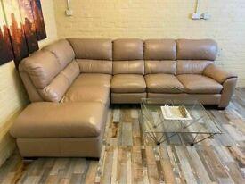 Fantastic Taupe Leather Corner Sofa (KT)