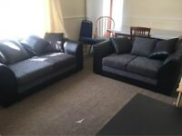 == NEXT DAY DELIVERY == IMPORTED BYRON LEATHER CHENILLE CORNER OR 3+2 SOFA SET