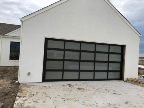 Full View Garage Door 16 ft By 8 ft Anodized Black Frame With Frosted Glass