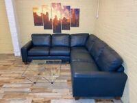 Pristine Smooth Blue Leather Corner Sofa