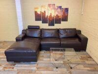 Sweet Brown Leather Corner Sofa
