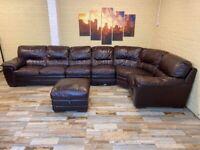 HUGE Versatile Brown Leather Corner Sofa