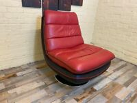 Contemporary Red Black Swivel Leather Armchair