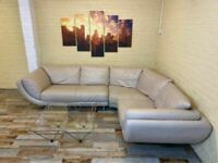 Comfy Large Family Cream Leather Corner Sofa