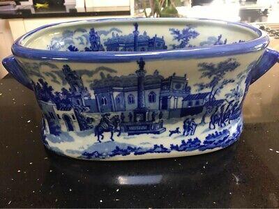 Victoria Ware large Flow Blue White Ironstone Porcelain Planter