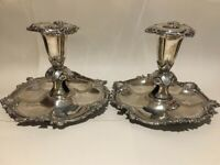 Stunning Antique Ornate Pair Of Baroque Style Silver Plate Chamber Sticks Candlestick Holder