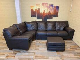 Elegant Curve Brown Leather Corner Sofa