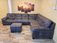 African Hide 2 Tone Leather Corner Sofa