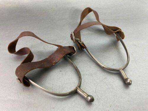 Vtg kids Toddler Eglentine Cowboy Boot Spurs Rowles w/ Leather Straps England