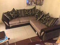 NEW HIGH QUALITY SHANNON LEATHER CHENILLE CORNER OR 3+2 SOFA SET
