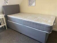 Plain Fabric Single Divan Bed & Mattress