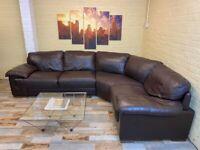 Long Elegant Brown Leather Corner Sofa