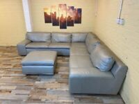 Chill Comfort Grey Leather Corner Sofa