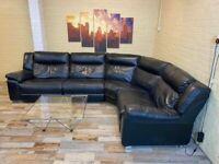 Electric Modular Black Leather Corner Sofa