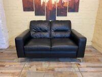 Prestige Black Leather 2 Seater Sofa
