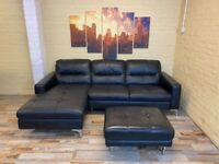 Fantastic Black Leather Corner Sofa