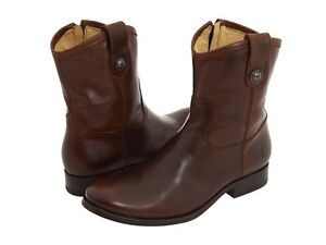Womens-Frye-Boots-Melissa-Button-Short-Dark-Brown-Riding-Style-77897-DBN