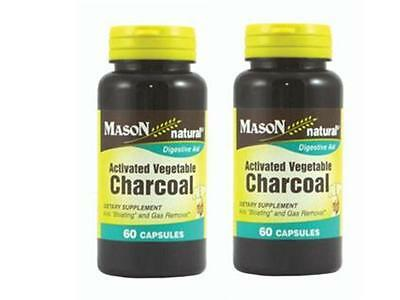 ( Pack Of 2 ) 60 Capsules Activated Vegetable Charcoal Carbon Vegetal Activado