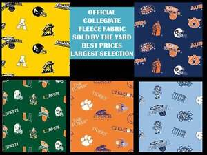 college fleece fabric university fleece fabric sold by the yard schools a j 035 ebay. Black Bedroom Furniture Sets. Home Design Ideas