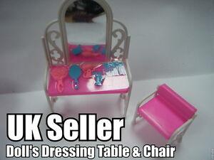 Joli Barbie Sindy Poupée Meubles Table D'Habillage Chaise Accessoires