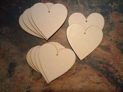 10x Wooden Heart Shapes, Laser Cut  MDF Craft 100mm x 100mm