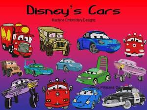 Disney Cars Machine Embroidery Design Patterns FREE SHIPPING