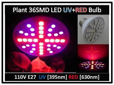2x Plant Grow 36smd Led Red & Uv Blue Light Bulb 110v E27 Usa Engineer Certified