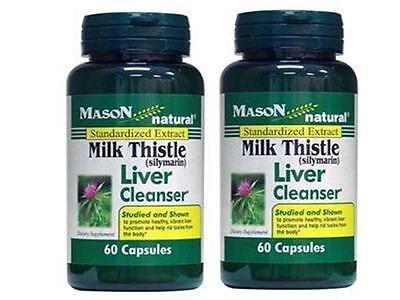 ( Pack Of 2 ) 60 Caps Milk Thistle Liver Cleanser Silybum Marianum Cardo Mariano