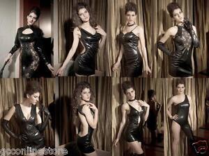 Halloween-Punk-Wet-Look-Black-Leather-Look-Goth-Punk-Dance-Clubwear-Dresses