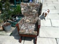 ROCKING CHAIR SMALL WITH BROWN FLORAL PATTERN