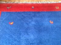 Indian wool rug, VGC. Red and blue. £30