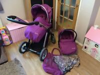 Purple oyster max double single buggy pram pushchair